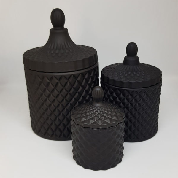 Matte Black Geo Candles with lids